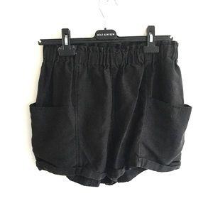ARITZIA Wilfred High Waisted Linen Shorts Black M